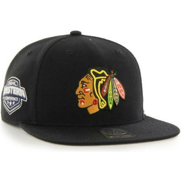 bone-plano-preto-snapback-da-chicago-blackhawks-nhl-captain-da-47-brand