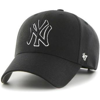 Boné curvo preto snapback com logo preto e branco da New York Yankees MLB MVP da 47 Brand
