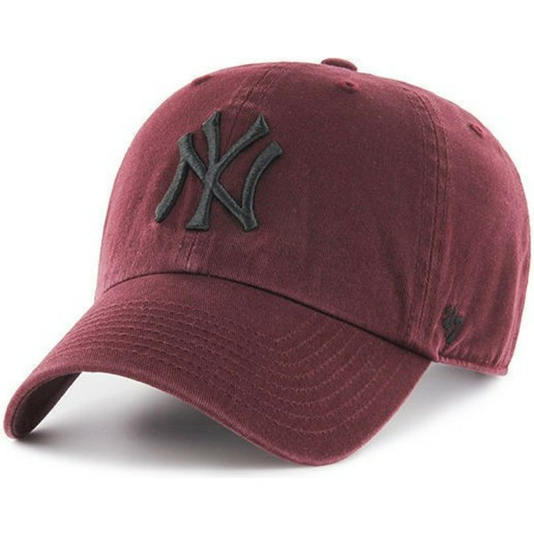 bone-curvo-grena-com-logo-preto-da-new-york-yankees-mlb-clean-up-da-47-brand