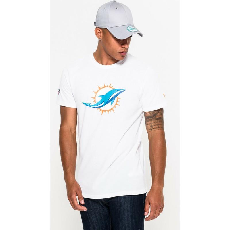Camiseta de manga curta branco da Miami Dolphins NFL da New Era ... 8d53de62455