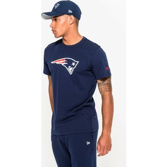 Camiseta de manga curta azul da New England Patriots NFL da New Era