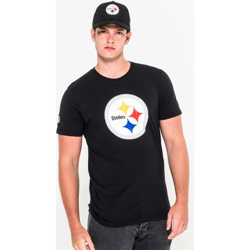 Camiseta de manga curta preto da Pittsburgh Steelers NFL da New Era ... e024ddcacb9