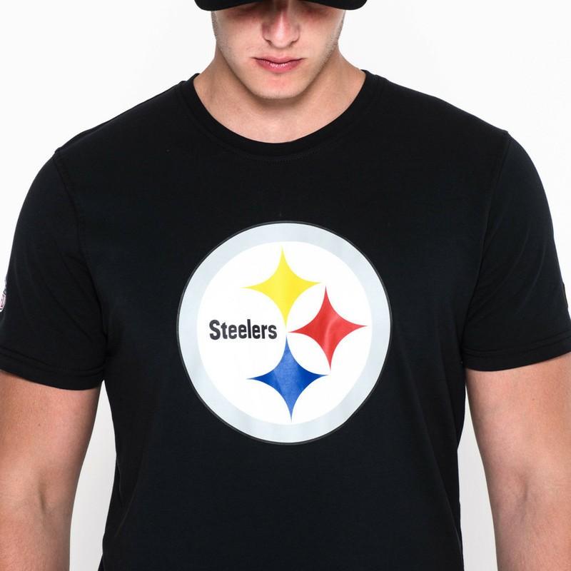 723899dd019a8 Camiseta de manga curta preto da Pittsburgh Steelers NFL da New Era ...