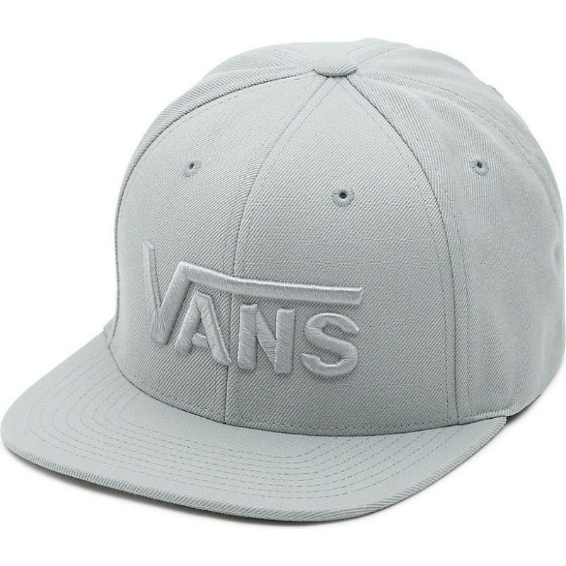 b20f0595692fa Boné plano cinza snapback com logo das letras Drop V da Vans ...
