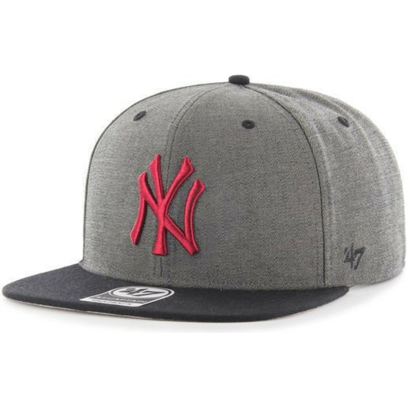 bone-plana-cinza-snapback-com-logo-vermelho-da-new-york-yankees-mlb-double-move-captain-da-47-brand