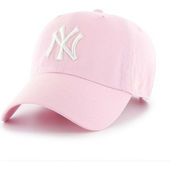 Boné curvo rosa claro da New York Yankees MLB Clean Up da 47 Brand