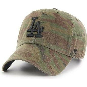 Boné curvo camuflagem com logo preto da Los Angeles Dodgers MLB Regiment Clean Up da 47 Brand