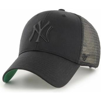 Boné trucker preto com logo preto da New York Yankees MLB MVP Branson da 47 Brand