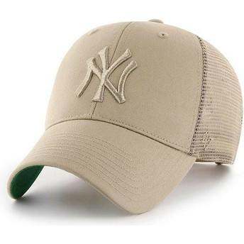 Boné trucker bege com logo bege da New York Yankees MLB MVP Branson da 47 Brand