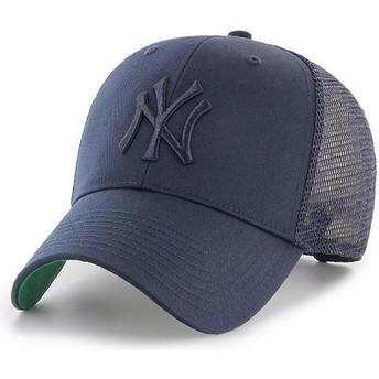 Boné trucker azul marinho com logo azul marinho da New York Yankees MLB MVP Branson da 47 Brand