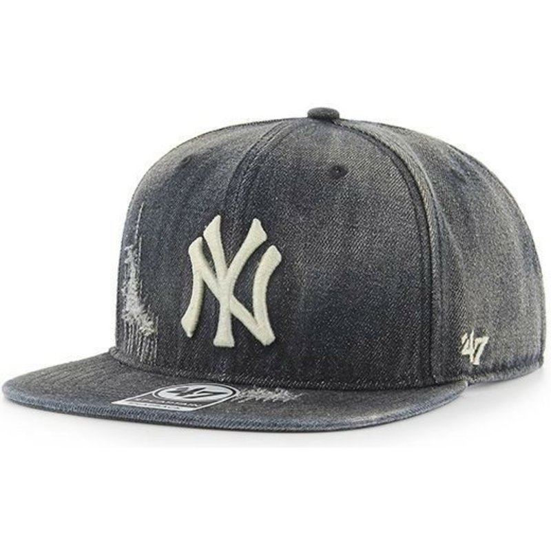 bone-plano-preto-vaqueiro-da-new-york-yankees-mlb-captain-loughlin-da-47-brand