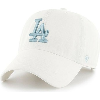 Boné curvo branco com logo azul da Los Angeles Dodgers MLB Clean Up da 47 Brand