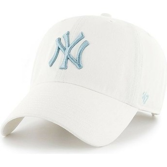 Boné curvo branco com logo azul da New York Yankees MLB Clean Up da 47 Brand