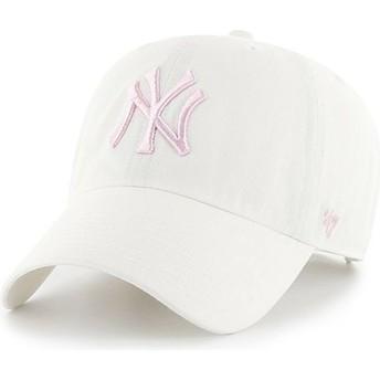 Boné curvo branco com logo rosa da New York Yankees MLB Clean Up da 47 Brand