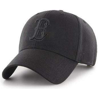 Boné curvo preto snapback com logo preto da Boston Red Sox MLB MVP da 47 Brand