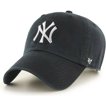 Boné curvo preto com logo prata da New York Yankees MLB Clean Up Metallic da 47 Brand