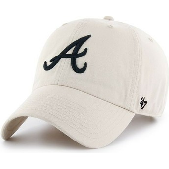 Boné curvo creme Atlanta Braves MLB Clean Up da 47 Brand