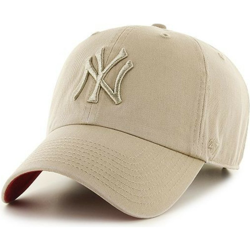 bone-curvo-bege-com-logo-bege-da-new-york-yankees-mlb-clean-up-da-47-brand