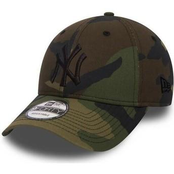 Boné curvo camuflagem com logo preto ajustável 9FORTY Essential da New York Yankees MLB da New Era