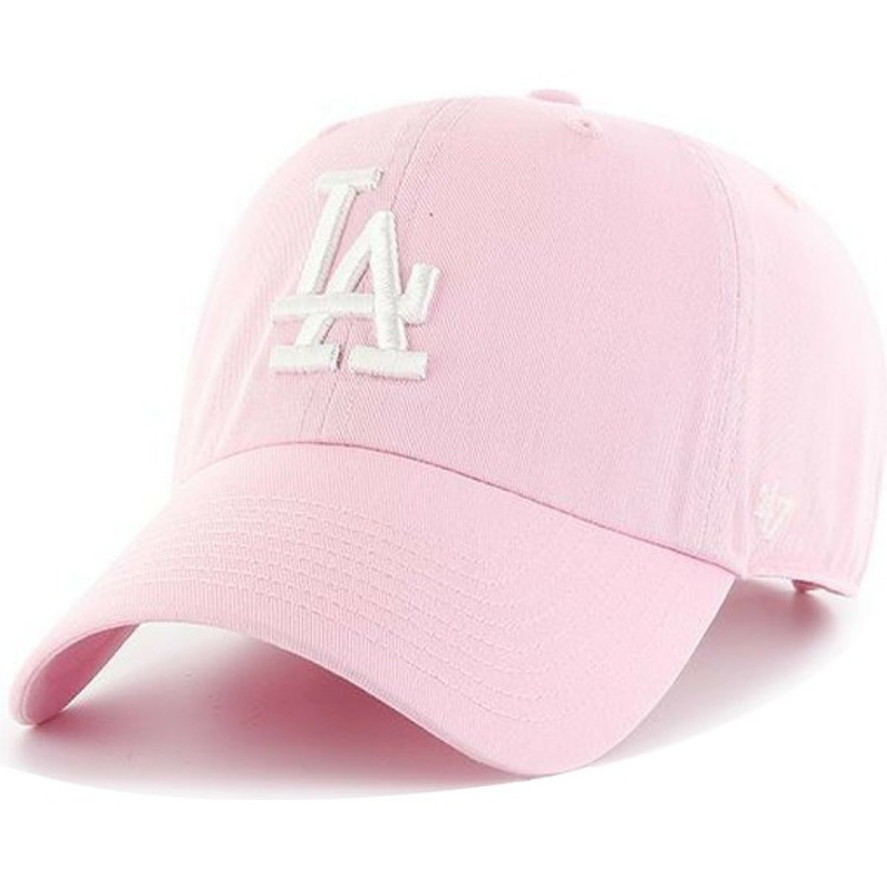 Boné curvo rosa com logo branco da Los Angeles Dodgers MLB Clean Up ... 24e1c2be8d7