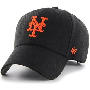Boné curvo preto com logo laranja da New York Mets MLB MVP da 47 Brand