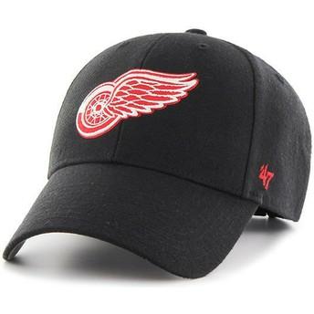 Boné curvo preto com logo vermelho da Detroit Red Wings NHL MVP da 47 Brand