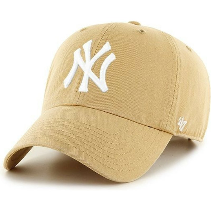 bone-curvo-castanho-claro-da-new-york-yankees-mlb-clean-up-da-47-brand