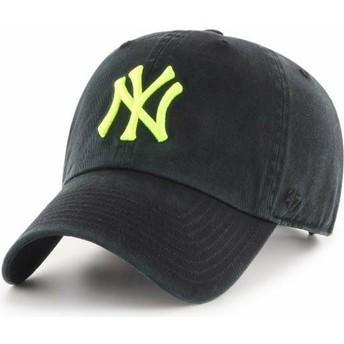 Boné curvo preto com logo amarelo da New York Yankees MLB Clean Up da 47 Brand