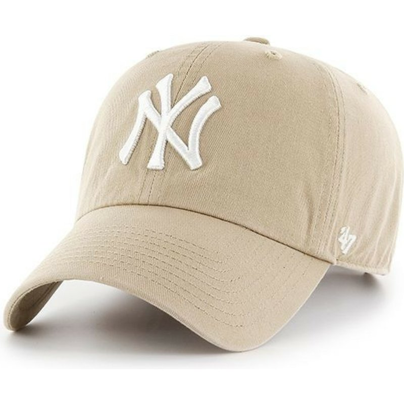 bone-curvo-caqui-com-logo-branco-da-new-york-yankees-mlb-clean-up-da-47-brand