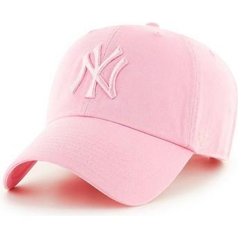 Boné curvo rosa com logo rosa da New York Yankees MLB Clean Up da 47 Brand