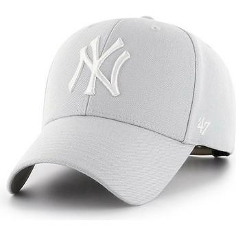 Boné curvo cinza prata snapback da New York Yankees MLB MVP da 47 Brand