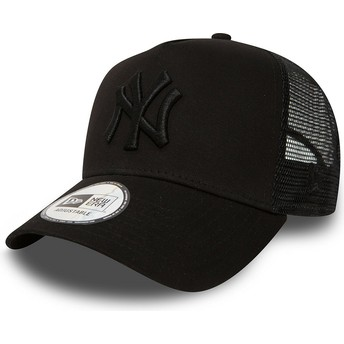 Boné trucker preto com logo preto Clean A Frame da New York Yankees MLB da New Era