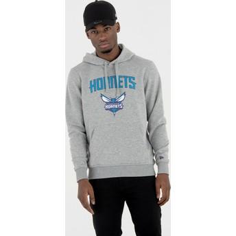 Moletom com capuz cinza Pullover Hoody da Charlotte Hornets NBA da New Era