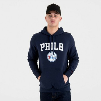 Moletom com capuz azul marinho Pullover Hoody da Philadelphia 76ers NBA da New Era