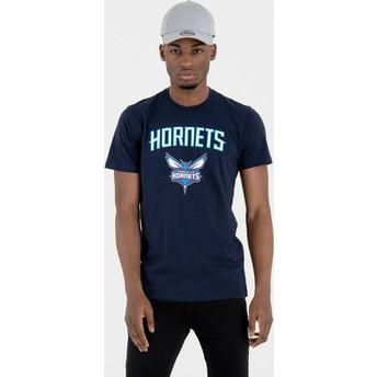 Camiseta de manga curta azul marinho da Charlotte Hornets NBA da New Era