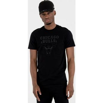 Camiseta de manga curta preto com logo preto da Chicago Bulls NBA da New Era