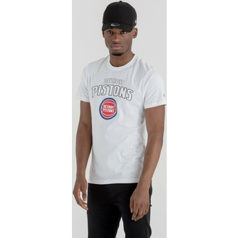 Camiseta de manga curta branco da Detroit Pistons NBA da New Era