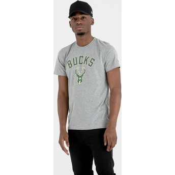 Camiseta de manga curta cinza da Milwaukee Bucks NBA da New Era