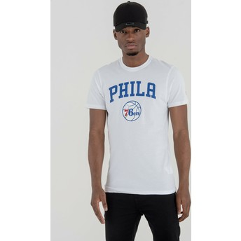 Camiseta de manga curta branco da Philadelphia 76ers NBA da New Era