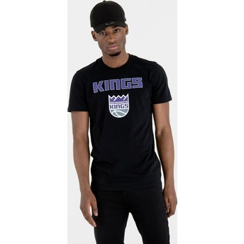 Camiseta de manga curta preto da Sacramento Kings NBA da New Era