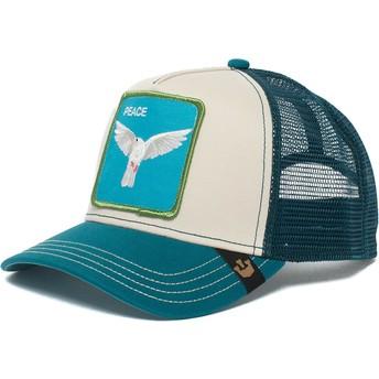 Boné trucker azul e branco pomba Peace Keeper da Goorin Bros.