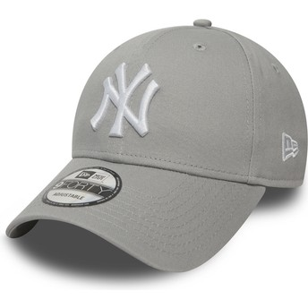 Boné curvo cinza ajustável 9FORTY Essential da New York Yankees MLB da New Era