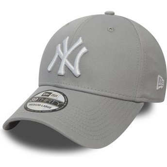 Boné curvo cinza justo 39THIRTY Classic da New York Yankees MLB da New Era