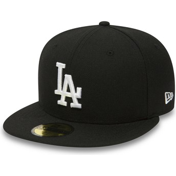 Boné plano preto justo 59FIFTY Essential da Los Angeles Dodgers MLB da New Era