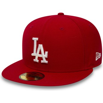 Boné plano vermelho justo 59FIFTY Essential da Los Angeles Dodgers MLB da New Era