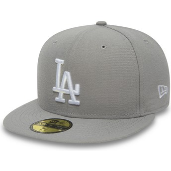 Boné plano cinza justo 59FIFTY Essential da Los Angeles Dodgers MLB da New Era