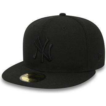 Boné plano preto justo 59FIFTY Black on Black da New York Yankees MLB da New Era