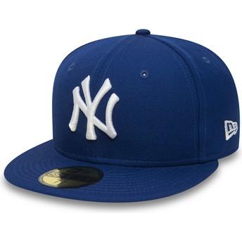 Boné plano azul justo 59FIFTY Essential da New York Yankees MLB da New Era