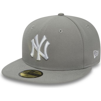 Boné plano cinza justo com logo branco 59FIFTY Essential da New York Yankees MLB da New Era