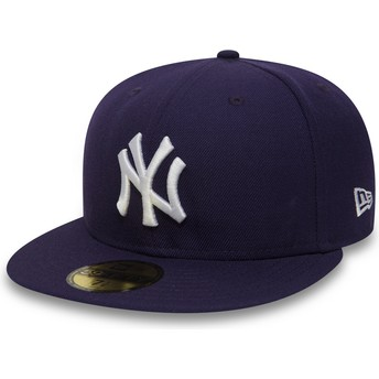 Boné plano violeta justo 59FIFTY Essential da New York Yankees MLB da New Era